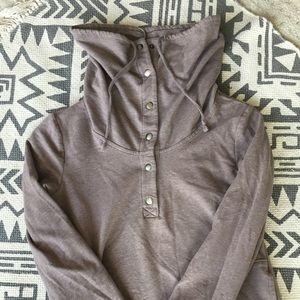1/2 button cowl neck sweatshirt
